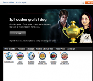 Nordicbets kasino (forsiden). Foto: Skjermdump Nordicbet